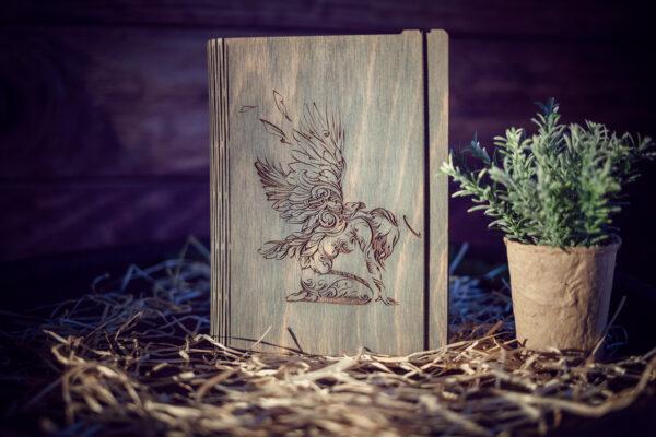 Agenda din lemn - model Inger - gri