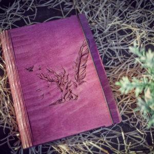 Agenda din lemn - model Speranta - roz