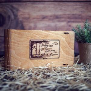 """Cutie din lemn pentru stick USB + loc fotografii model """"Leagan 2"""""""