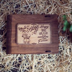Cutie din lemn medie pentru stick USB - model Impreuna pentru totdeauna