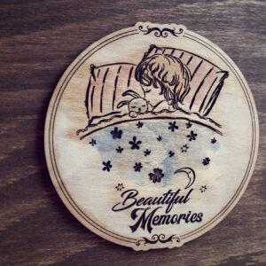 Album Foto / GuestBook cu coperti din lemn, VintageBox, model Somn dulce - Beautiful Memories